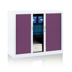 Tambour Cupboard with Purple Doors