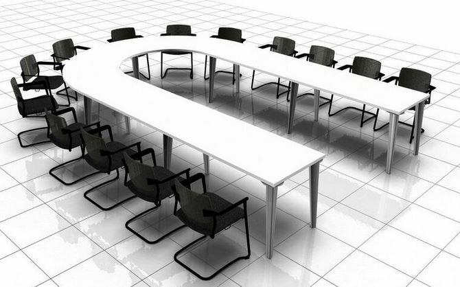 Round Meeting Room Table Black