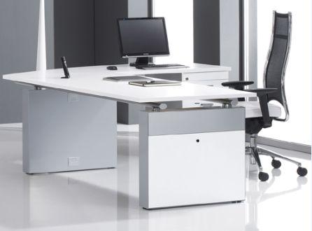 L Shaped Glass Top Desk