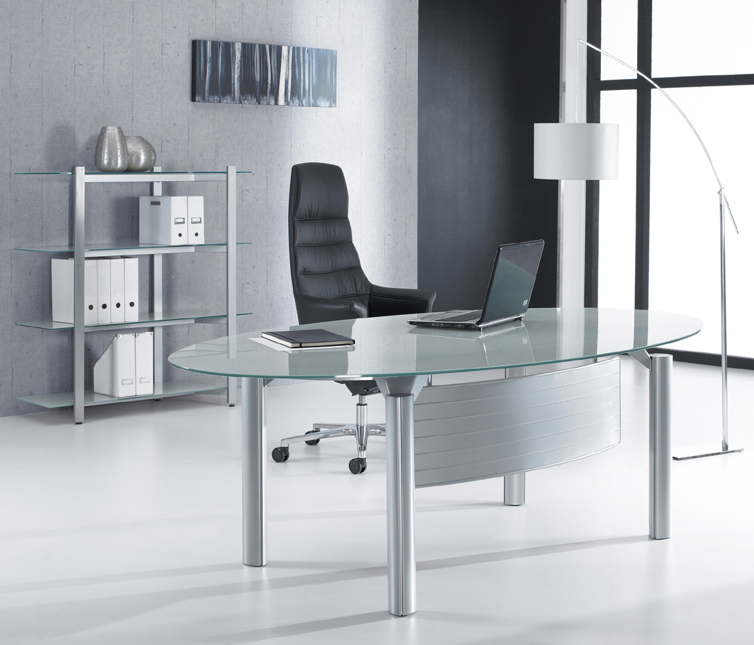 Glass office desks executive glass desks solutions 4 for Glass furniture