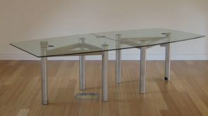 Barrel Shaped Glass Boardroom Table