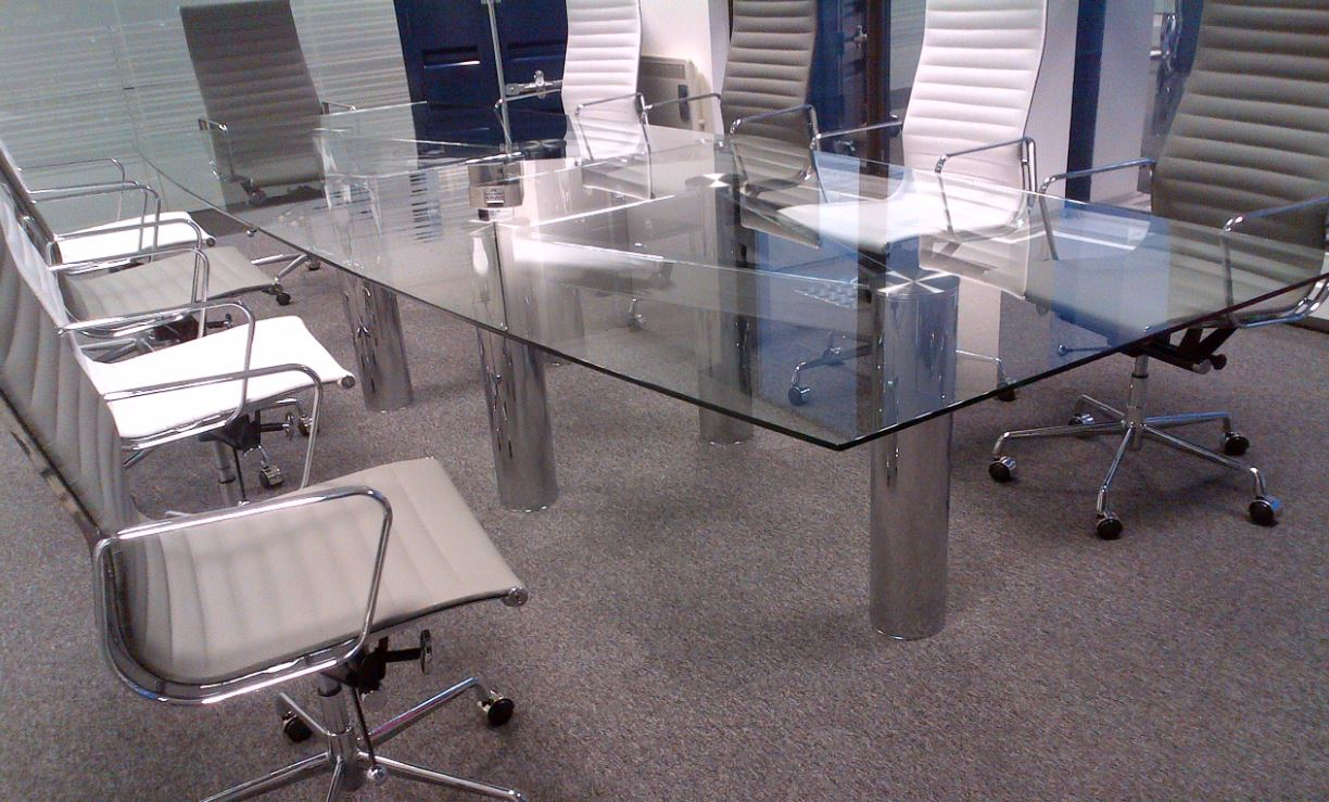 Glass conference table for sale - Frosted Glass Boardroom Tables With Integral Cable Management Chrome_framed_glass_meeting_table