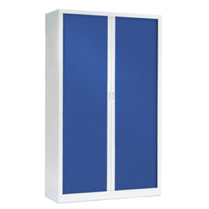 Blue Tambour Cabinets