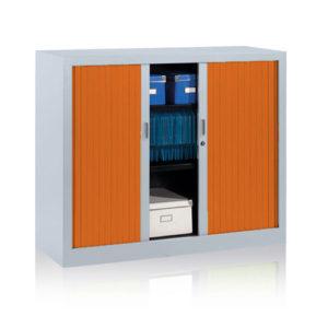 Orange Tambour Storage Unit