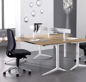 Stylish Office Desks with walnut top and white legs