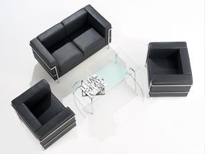 Cube Executive Reception Sofa in Leather