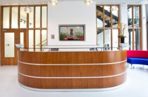 Reception Desk in Cherry and Glass