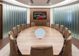 Walnut and Glass Boardroom Table