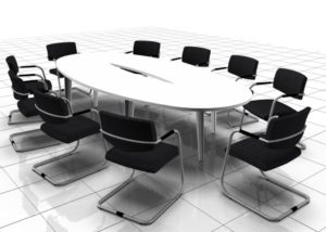 White Meeting Table Elliptical Shape