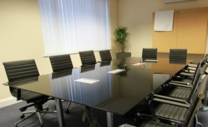 Black Glass Boardroom Table