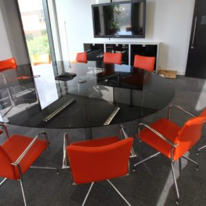 Black Glass Oval Meeting Table
