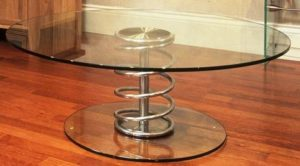 Glass Coffee Table with spring designer base