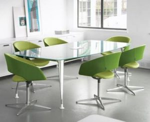Glass Meeting Table Aluminium Frame