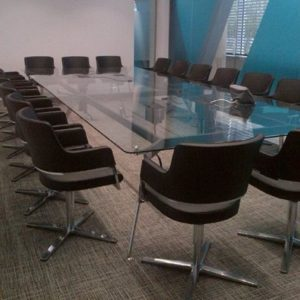 Glass Meeting Table in Clear Glass
