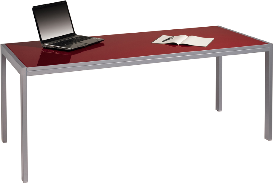 Red Glass Meeting Table
