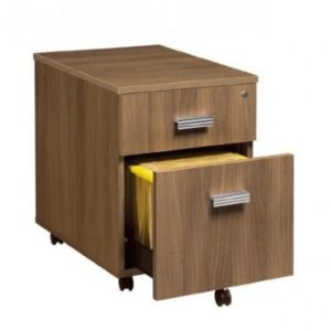 2 drawer Underdesk Pedestal in Amber Walnut