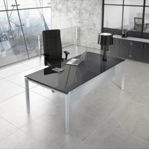 Rio Executive Desk in Mouse Grey Glass finish