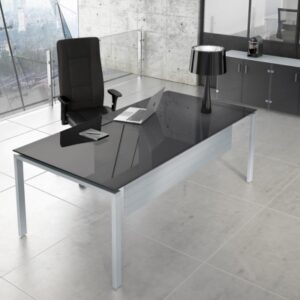 Office Glass Desks with Dark Grey Top