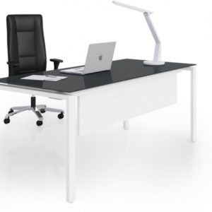 Rio Executive Desk in Mouse Grey Glass finish with optional modesty panel
