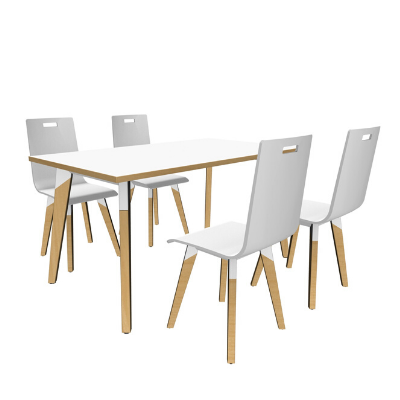 Rectangle meeting table in white with white chairs