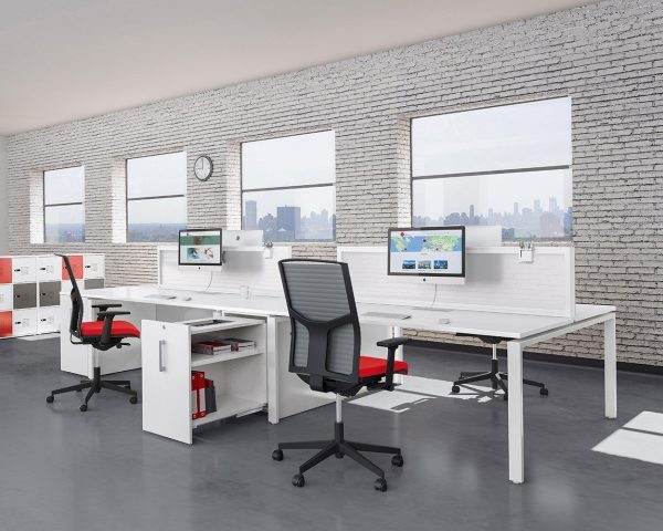 Bench Desks in white tops and legs