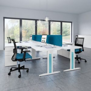 White Office Desks with colour on legs