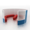 Screen Pods in Blue with Red Seating