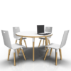 4 person circular white table with chairs