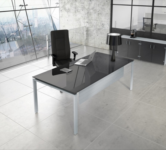 Brasil Glass Desk with Mouse Grey Top and optional modesty panel
