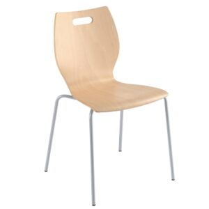 Canteen Chairs with Easy Clean Varnished Wooden Seat
