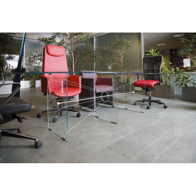 Clear Glass Meeting Table with various Chairs