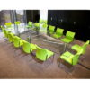 Large Glass Boardroom Table with Green Chairs