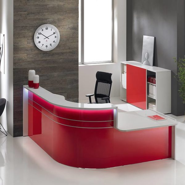 Gloss Reception Desk Red