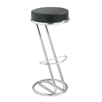 Office Bar Stools with Black Faux Leather Seat