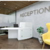 Curved Reception Desk in White