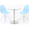 Round Meeting Table and Blue Chairs