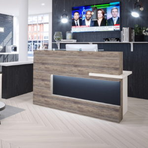 Reception desk in Grey Oak and white with feature panel