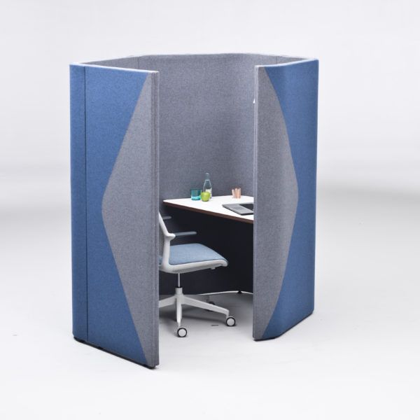 1 Person Acoustic Booth in blue and grey