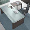 Concorde Glass Executive Desk with Wenge desk return