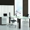 Concorde Glass Top Exec Desk with Return Desk