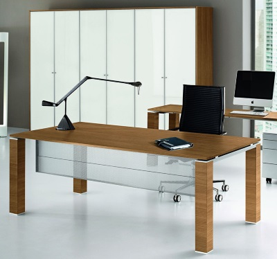 Concorde Walnut Executive Desk with Modesty Panel
