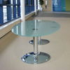 Frosted Glass Meeting Table with Chrome Base