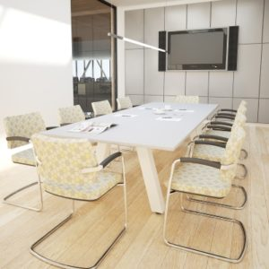 Navaro Meeting Table with white top and white legs