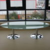 Oval Glass Meeting Table with Frosted Top