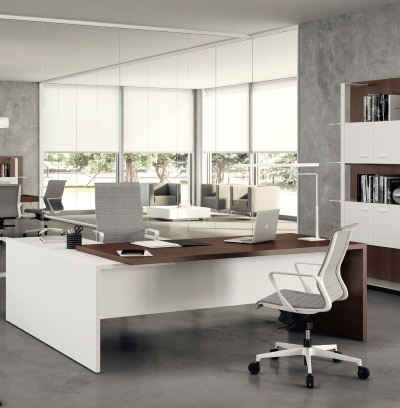Taste Executive Desk in wenge and white