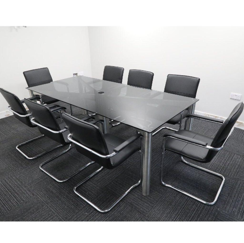 Grey Glass Boardroom Table