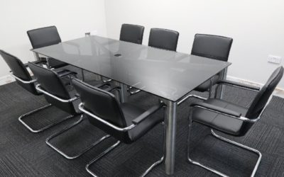 Grey Glass Boardroom Table
