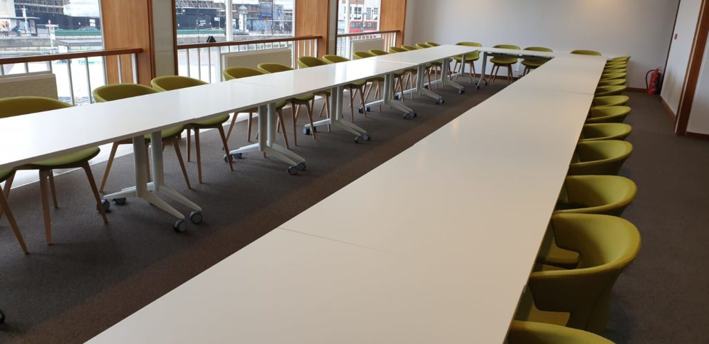 Meeting room tables and flexible desks at the newly refurbished Fairfield Halls in Croydon. Commercial furniture supplied by Solutions 4 Office.