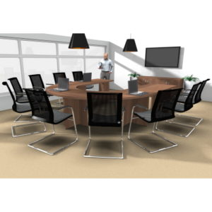 10-seater U-Shaped Meeting Table with Panel Leg