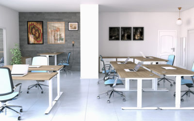 Open plan workspace with modern desking